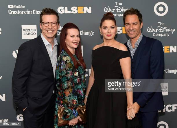 Sean Hayes Megan Mullally Debra Messing and Eric McCormack attend the GLSEN Respect Awards at the Beverly Wilshire Four Seasons Hotel on October 19...