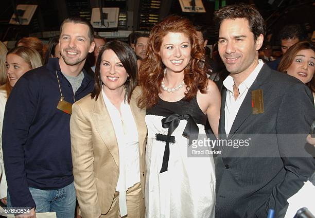 Sean Hayes Megan Mullally Debra Messing and Eric McCormack from the Cast of 'Will and Grace' walk on the floor of the New York Stock Exchange on May...
