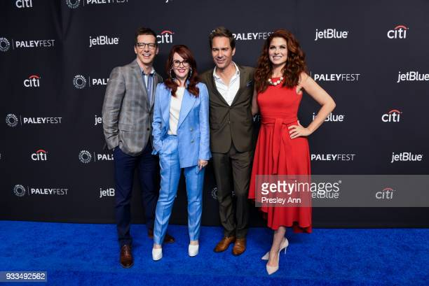 Sean Hayes Megan Mullally Eric McCormack and Debra Messing attend PaleyFest Los Angeles 2018 'Will Grace' at Dolby Theatre on March 17 2018 in...