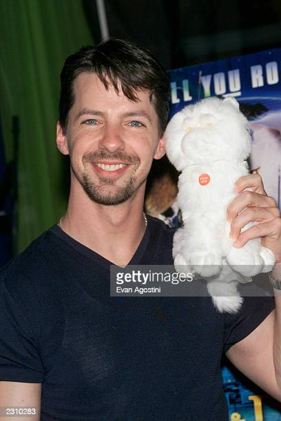 Sean Hayes with a toy cat from the film at a 'Cats Dogs' screening at Planet Hollywood Times Square in New York City Photo Evan Agostini/Getty Images