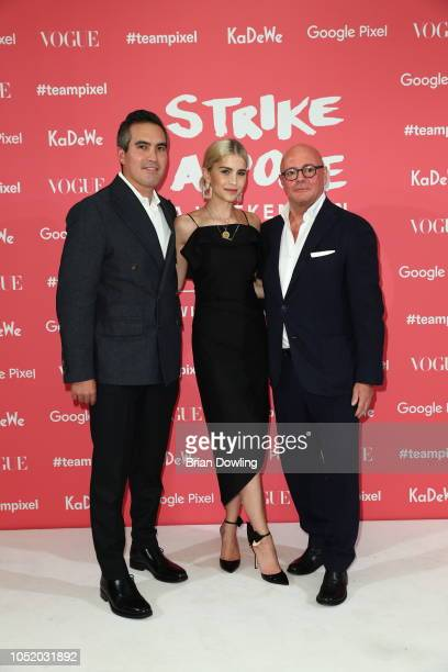 Sean Hill Caro Daur and Andre Maeder attend the 'Strike A Pose Weekend En Vogue' event at KaDeWe on October 12 2018 in Berlin Germany