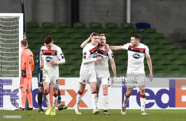 Sean Hoare of Dundalk FC celebrates after scoring their team's second goal with his team mates during the UEFA Europa League Group B stage match...
