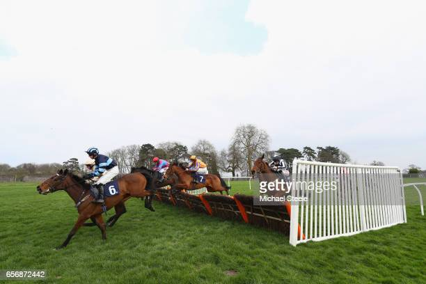 Sean Houlihan riding Macca's Stowaway during the Marley Eternit Mares' Novices' hurdle race at Chepstow Racecourse on March 23 2017 in Chepstow Wales