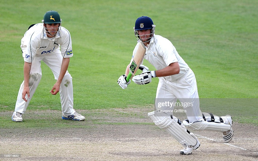 Sean Irvine of Hampshire hits out to the boundary during the LV County Championship match between Nottinghamshire and Hampshire at Trent Bridge on May 20, 2010 in Nottingham, England.