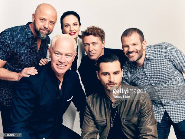 Sean Jablonski Neal McDonough Laura Mennell Aiden Gillen Michael Malarkey and David OLeary of HISTORY's 'Project Blue Book' pose for a portrait...