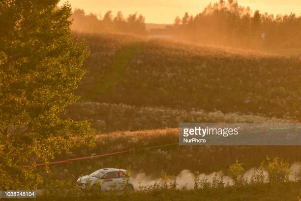 Sean Johnson and Alexander Kihurani on Opel Adam R2 in action during Paprotki 1522km stage on Day Two of the PZM 75th Rally Poland in Hotel Gobiewski...