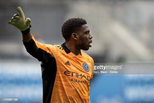 Sean Johnson of New York City FC communicates with teammates in the second half of the match against the Nashville SC at Red Bull Arena on October 3,...