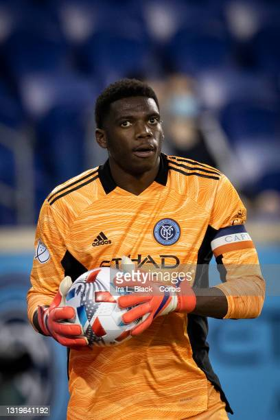 Sean Johnson of New York City takes the goal for the beginning of the 1st half of the match against Columbus Crew SC at Red Bull Arena on May 22,...
