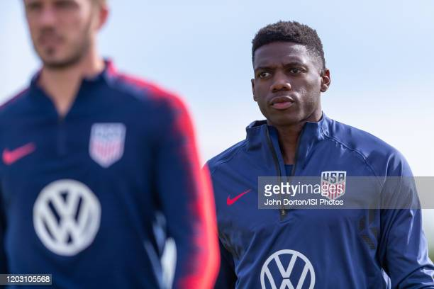 Sean Johnson of the United State walk onto the field at Dignity Health Sports Park at Dignity Health Sports Park on January 30 2020 in Carson...