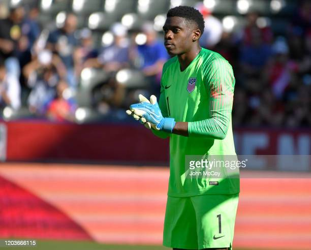 Sean Johnson of the United States applauds during a match against Costa Rica at Dignity Health Sports Park on February 1 2020 in Carson California