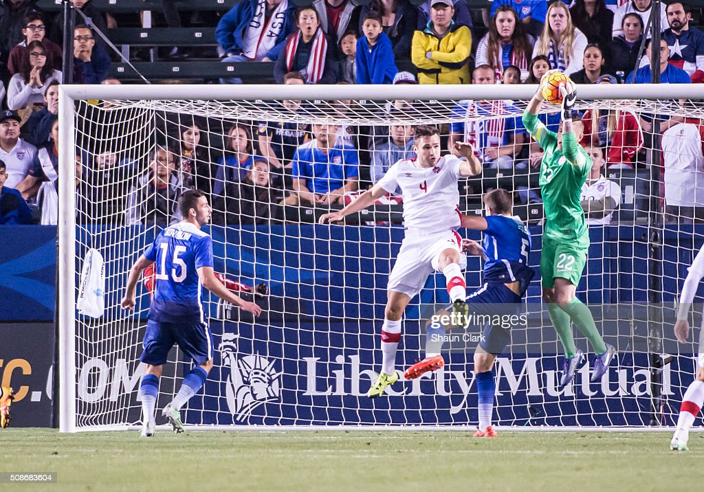 Sean Johnson #1 of the United States catches the ball during the International Soccer Friendly match between the United States and Canada at the StubHub Center on February 5, 2016 in Carson, California. The United States won the match 1-0