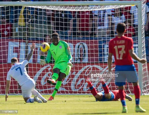 Sean Johnson of the United States clears the ball during the international friendly match between the United States and Costa Rica at the Dignity...