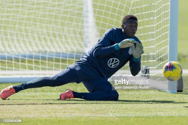 Sean Johnson of the United States makes the save at IMG Academy on January 22 2020 in Bradenton Florida
