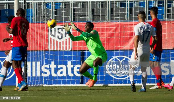 Sean Johnson of the United States saves a ball during a game between Costa Rica and USMNT at Dignity Health Sports Park on February 1 2020 in Carson...