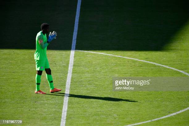 Sean Johnson of the United States waits for Costa Rica to bring the action to him at Dignity Health Sports Park on February 1 2020 in Carson...