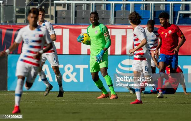 Sean Johnson of the United States with the ball during a game between Costa Rica and USMNT at Dignity Health Sports Park on February 1 2020 in Carson...