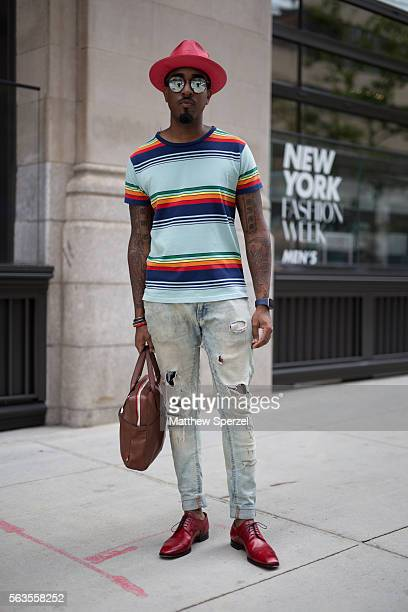 Sean Julian is seen attending the Assembly presentation wearing a City Hats hat Sand suit and Saks 5th shoes during New York Fashion Week Men's...