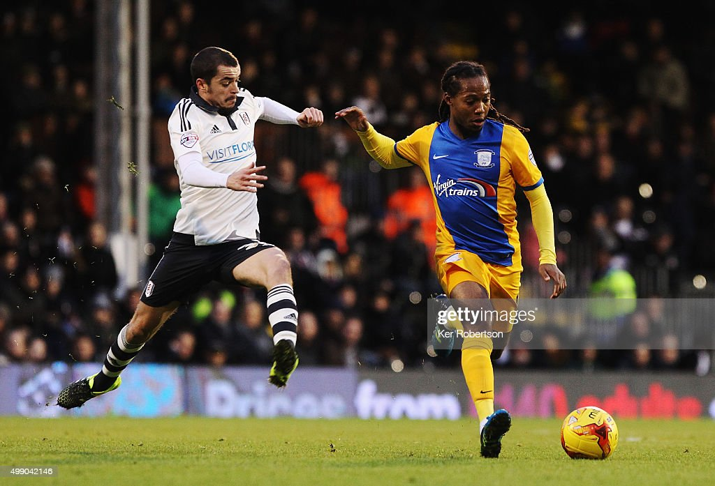 Sean Kavanagh of Fulham challenges Daniel Johnson of Preston North End during the Sky Bet Championship match between Fulham and Preston North End at Craven Cottage on November 28, 2015 in London, England.