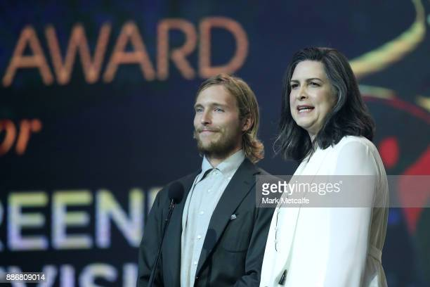Sean Keenan and Pamela Rabe speak during the 7th AACTA Awards Presented by Foxtel | Ceremony at The Star on December 6 2017 in Sydney Australia