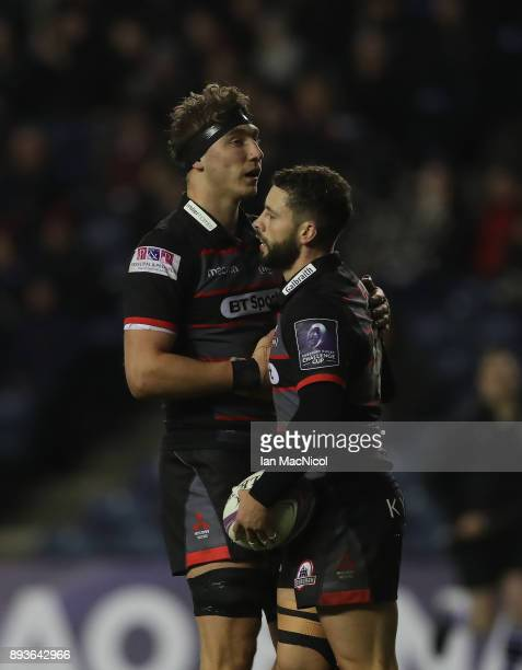 Sean Kennedy of Edinburgh is congratulated on scoreng his sides sixth try during the European Rugby Challenge Cup match between Edinburgh and Krasny...