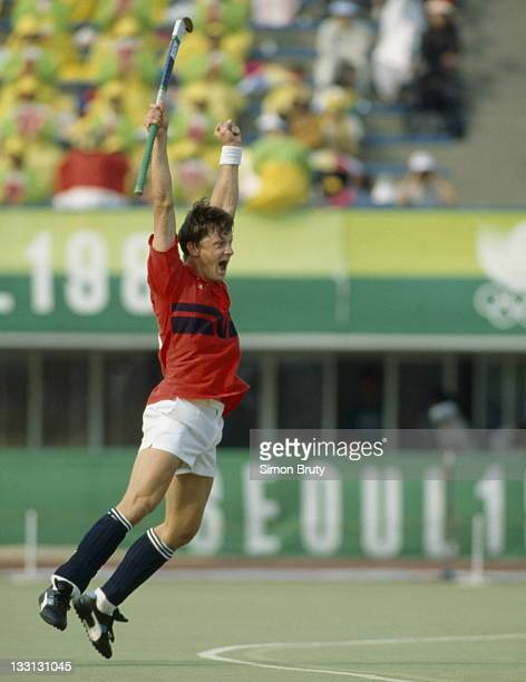 Sean Kerly of Great Britain celebrates after defeating Germany 3-1 in the Men's Field Hockey final at the XXIV Summer Olympic Games on 1st October...