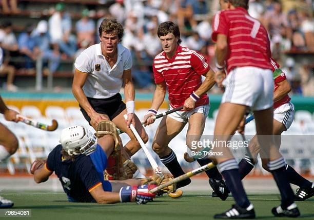 Sean Kerly of Great Britain sees his shot saved by West German goalkeeper Christian Bassemir during the semi final game of the Men's Field Hockey...