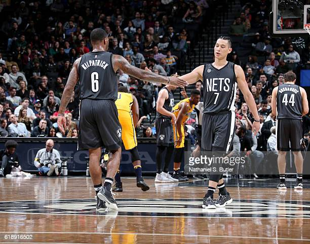 Sean Kilpatrick and Jeremy Lin of the Brooklyn Nets celebrate during a game against the Indiana Pacers on October 28 2016 at Barclays Center in...