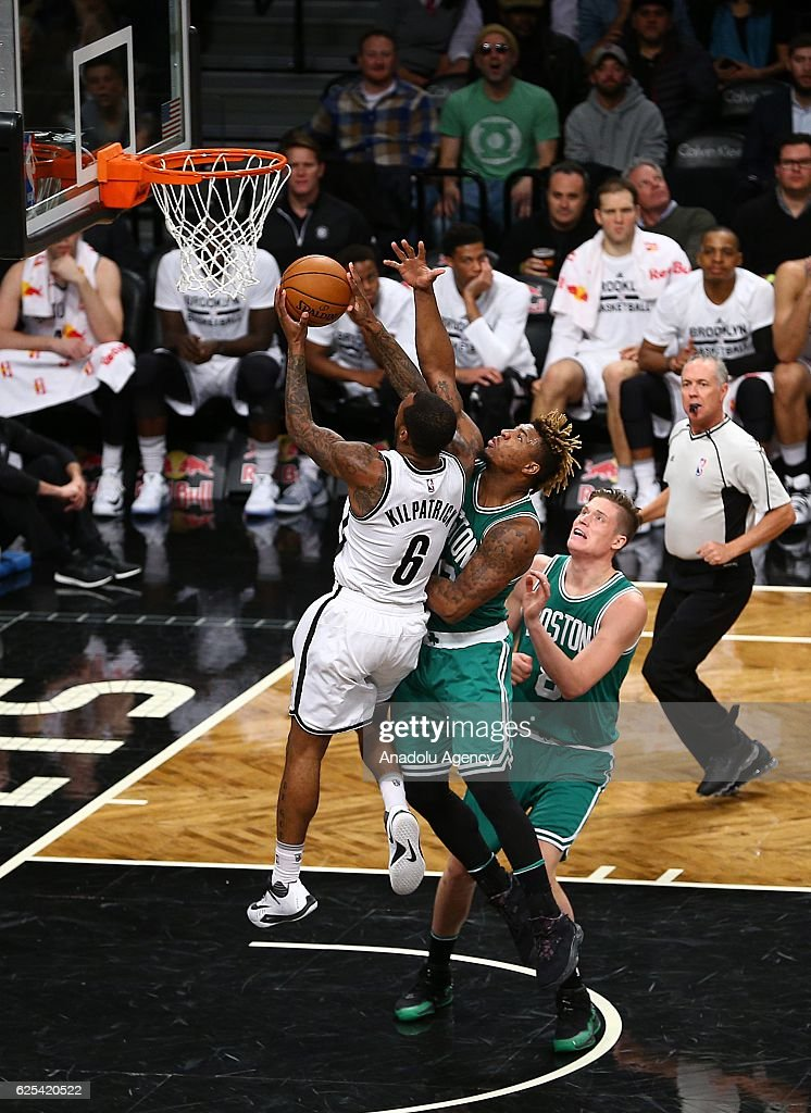 Sean Kilpatrick (6) of Brooklyn Nets in action against Marcus Smart of Boston Celtic during the NBA match between Brooklyn Nets and Boston Celtics at the Barclays Center in New York City, NY, United States on November 24, 2016.