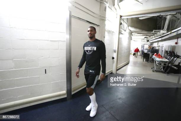 Sean Kilpatrick of the Brooklyn Nets arrives before the preseason game against the New York Knicks on October 3 2017 at Madison Square Garden in New...