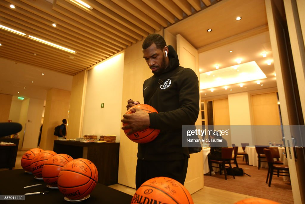 Sean Kilpatrick #6 of the Brooklyn Nets does ball signings as part of the NBA Mexico Games 2017 on December 6, 2017 at the Hyatt Regency Hotel in Mexico City, Mexico.