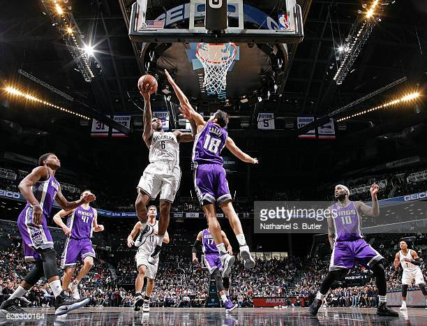 Sean Kilpatrick of the Brooklyn Nets drives to the basket during a game against the Sacramento Kings on November 27 2016 at Barclays Center in...