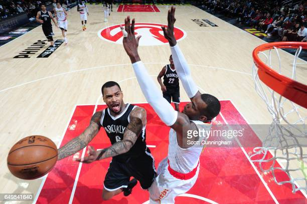 Sean Kilpatrick of the Brooklyn Nets goes up for a shot during a game against the Atlanta Hawks on March 8 2017 at Philips Arena in Atlanta Georgia...