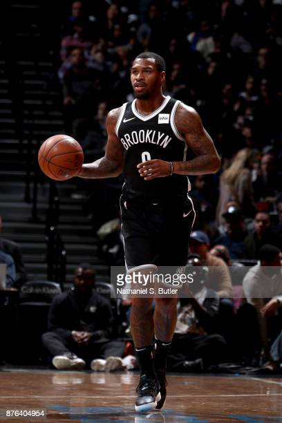 Sean Kilpatrick of the Brooklyn Nets handles the ball against the Golden State Warriors on November 19 2017 at Barclays Center in Brooklyn New York...