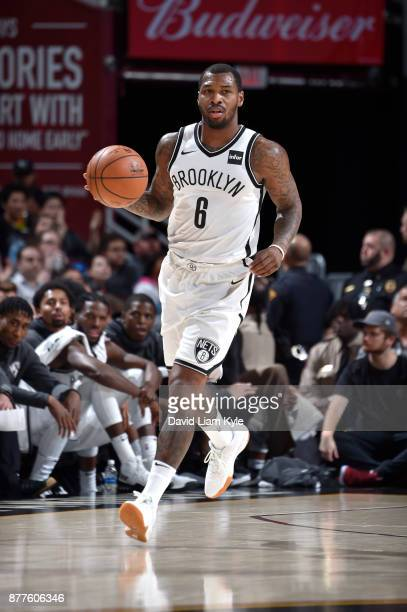 Sean Kilpatrick of the Brooklyn Nets handles the ball against the Cleveland Cavaliers on November 22 2017 at Quicken Loans Arena in Cleveland Ohio...