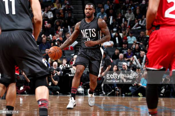 Sean Kilpatrick of the Brooklyn Nets handles the ball during the game against the Toronto Raptors on February 5 2017 at Barclays Center in Brooklyn...