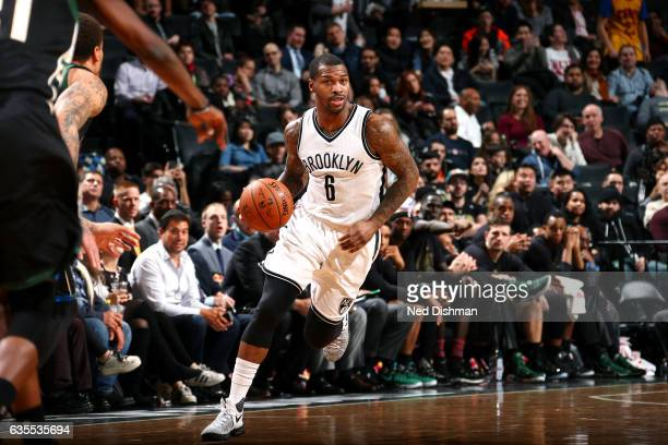 Sean Kilpatrick of the Brooklyn Nets handles the ball during the game against the Milwaukee Bucks on February 15 2017 at Barclays Center in Brooklyn...