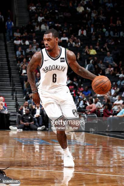 Sean Kilpatrick of the Brooklyn Nets handles the ball during the game against the Miami Heat during a preseason game on October 5 2017 at Barclays...