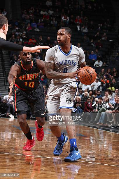 Sean Kilpatrick of the Brooklyn Nets looks to pass against the Atlanta Hawks on January 10 2017 at Barclays Center in Brooklyn New York NOTE TO USER...