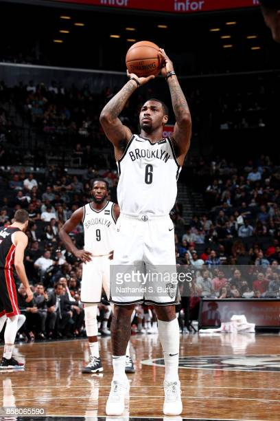 Sean Kilpatrick of the Brooklyn Nets shoots a free throw during the game against the Miami Heat during a preseason game on October 5 2017 at Barclays...