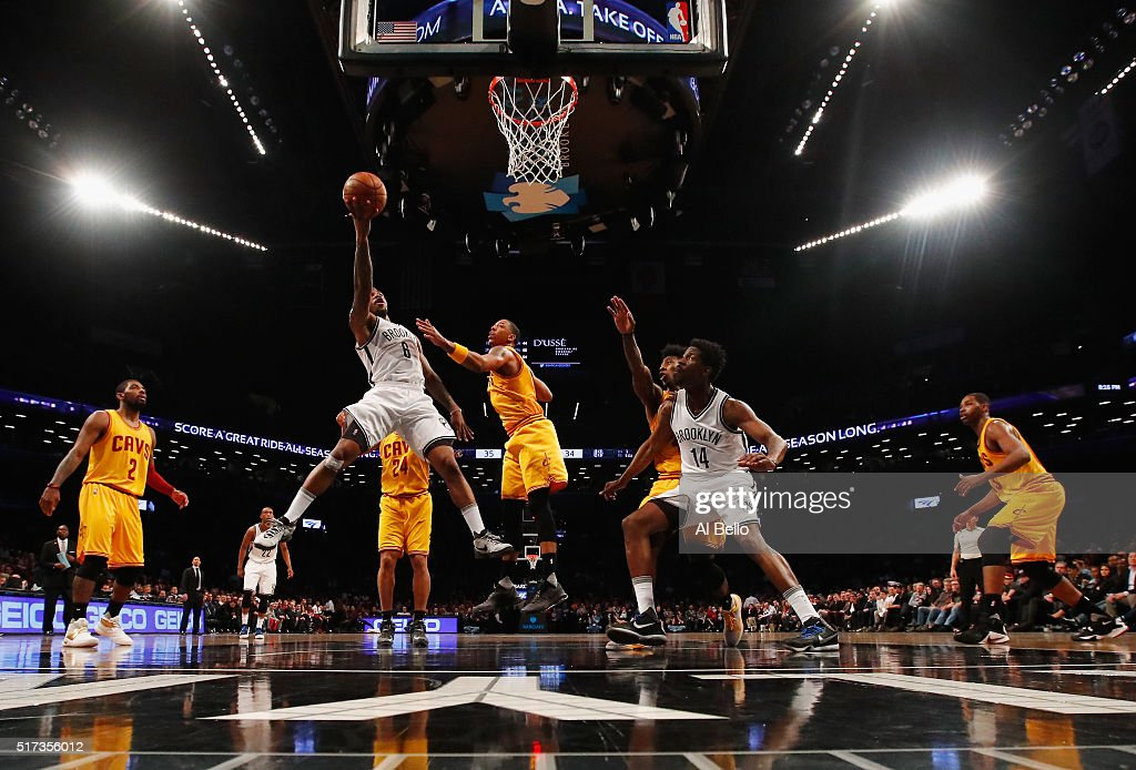 Sean Kilpatrick #6 of the Brooklyn Nets shoots against the Cleveland Cavaliers during their game at the Barclays Center on March 24, 2016 in New York City.