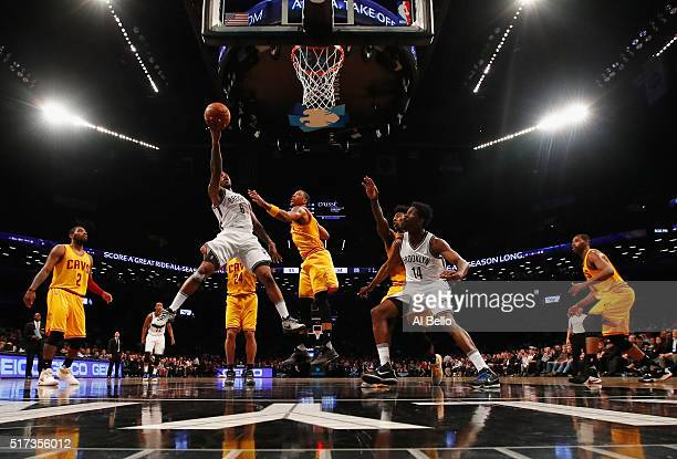 Sean Kilpatrick of the Brooklyn Nets shoots against the Cleveland Cavaliers during their game at the Barclays Center on March 24 2016 in New York...