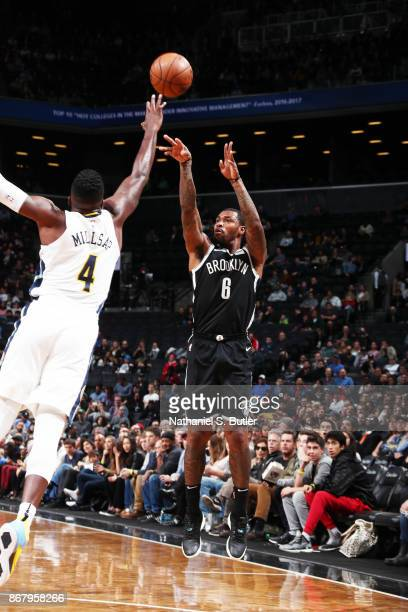 Sean Kilpatrick of the Brooklyn Nets shoots the ball against the Denver Nuggets on October 29 2017 at Barclays Center in Brooklyn New York NOTE TO...