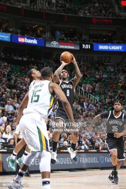 Sean Kilpatrick of the Brooklyn Nets shoots the ball against the Utah Jazz during the game on March 3 2017 at vivintSmartHome Arena in Salt Lake City...