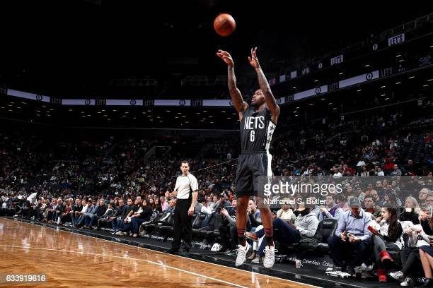 Sean Kilpatrick of the Brooklyn Nets shoots the ball during the game against the Toronto Raptors on February 5 2017 at Barclays Center in Brooklyn...
