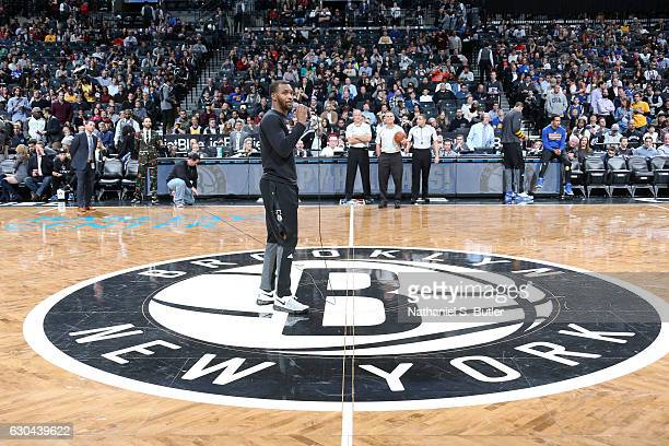 Sean Kilpatrick of the Brooklyn Nets speaks before the game against the Golden State Warriors on December 22 2016 at Barclays Center in Brooklyn NY...