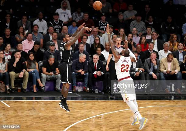 Sean Kilpatrick of the Brooklyn Nets takes a shot against LeBron James of the Cleveland Cavaliers in the first quarter during their game at Barclays...