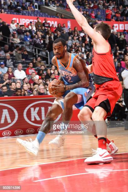 Sean Kilpatrick of the LA Clippers jocks for a position against the Portland Trail Blazers on March 18 2018 at STAPLES Center in Los Angeles...