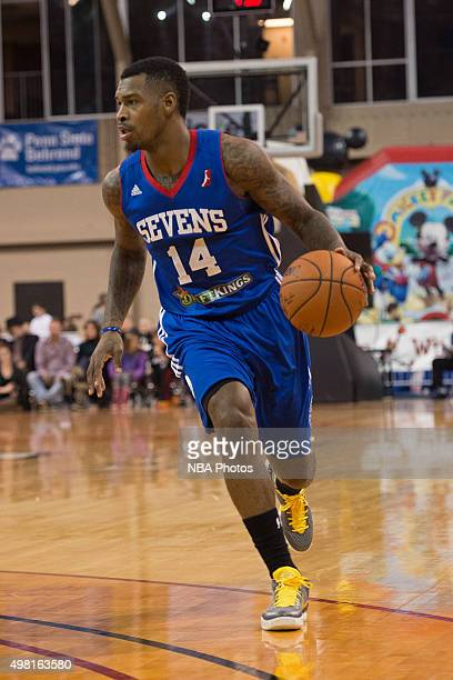 Sean Kilpatrick of the Delaware 87ers dribbles the ball against the Erie BayHawks at the Erie Insurance Arena on November 20 2015 NOTE TO USER User...