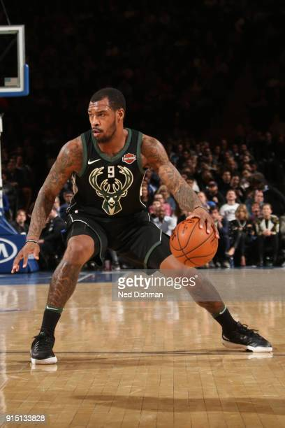 Sean Kilpatrick of the Milwaukee Bucks dribbles the ball during the game against the New York Knicks on February 6 2018 at Madison Square Garden in...