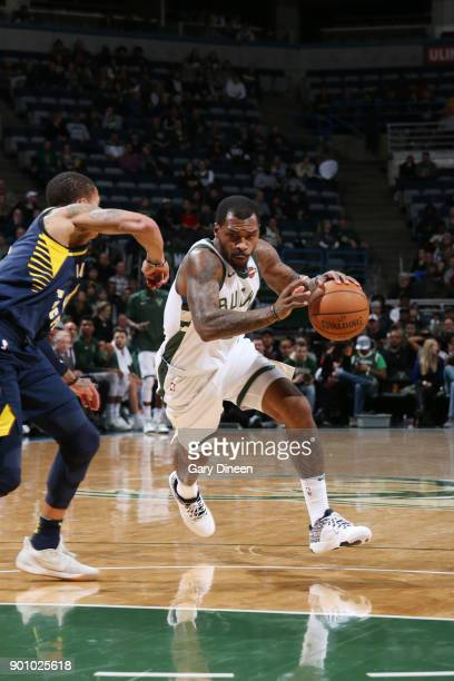 Sean Kilpatrick of the Milwaukee Bucks handles the ball against the Indiana Pacers on January 3 2018 at the BMO Harris Bradley Center in Milwaukee...